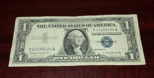 free vintage 1957 b 1 blue seal silver certificate coins