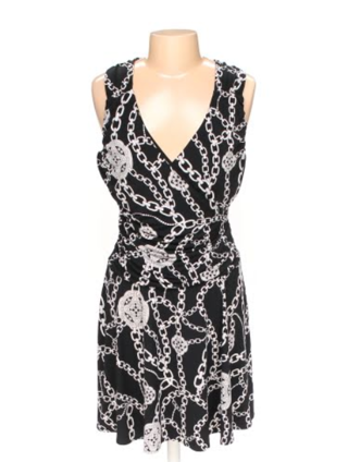Women's Black White Jennifer Lopez V Neck Knee Length Dress - Size L