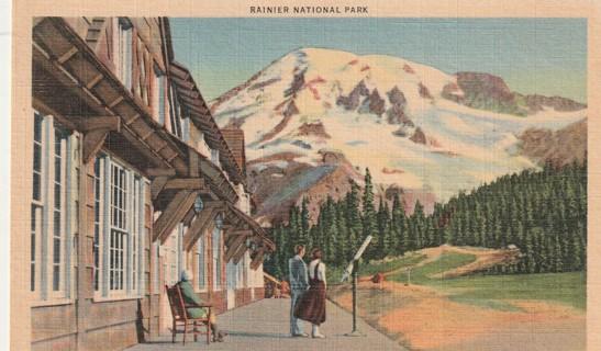 Vintage Used Postcard: 1953 Rainier National Park, Mountain from Paradise Park, WA