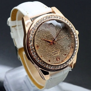 New Fashion Stunning Women's Round Dial Crystal Leather Band Quartz Wrist Watch
