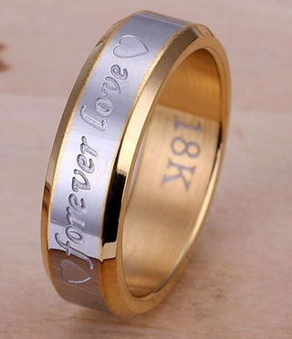 NEW Stunning .925 Sterling Silver Ring Forever Love ♥ 18K Stamped Gold Filled Jewelry FREE SHIPPING