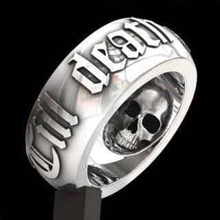 [GIN FOR FREE SHIPPING] Till Death Do Us Part Hip Hop Men Skull Punk Ring