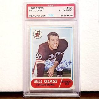 CLEVELAND BROWNS 1968 > Psa/Dna Certified Authentic Autograph > BILL GLASS college HOF *AWESOME!