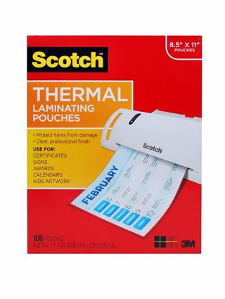 Scotch Thermal Laminating Pouches, 8.9 x 11.4 -Inches, 3 mil thick, 100-Pack