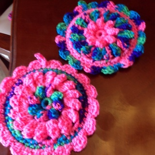 Spring Collection. Two Hand Crochet Puff Round Double Sided Potholders.