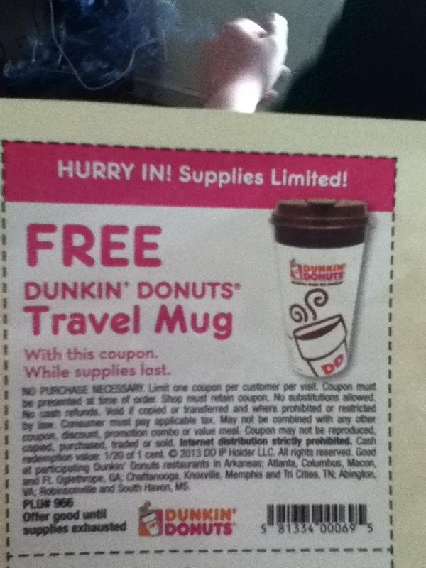 Dunkin Donuts Travel Mug Coupon