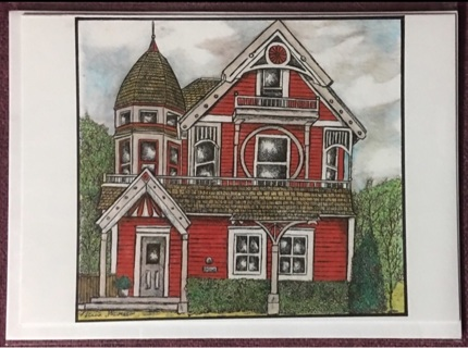 """RED VICTORIAN WITH TURRET - 5 x 7"""" Art Card by artist Nina Struthers - GIN ONLY"""