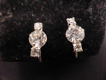 Vintage Unbranded Silver Tone Clear Gemstone Screw-on Earrings-Petite-LAST TIME LISTING