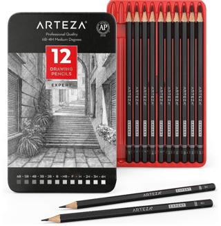 SALE! Arteza Professional Drawing Sketch Pencils Set of 12, Medium (6B - 4H)