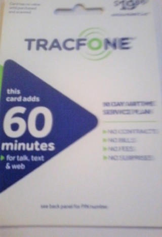 ONE TRACFONE CARD 60 MINUTES