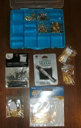 Lot of Findings for Jewelry, Knitting, Crochet, Earrings, + Small Storage Box