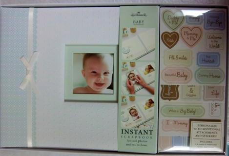 NEW $39.99 Retail Hallmark SBK7015 8x8 Elegant Neutral Baby Scrapbook Kit  GREAT Baby Shower Gift