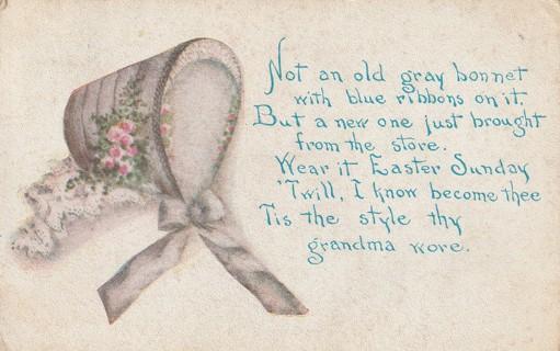 Vintage Used Postcard: 1911 Easter Sunday Bonnet