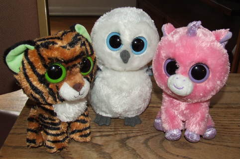 f2611c588f8 FREE  TY Beanie Babies Big Eyes Magic the Unicorn Spells the Owl Stripes  the Tiger Lot of 3