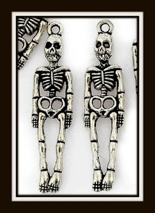 TWO (2) pcs TALL & DETAILED SKELETON Tibetan Silver Pendants, Charms, 38mm x 10mm, Brand NEW!