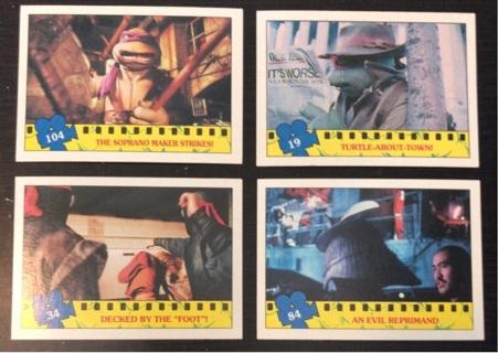 4x Teenage Mutant Ninja Turtles Movie Trading Cards 1990