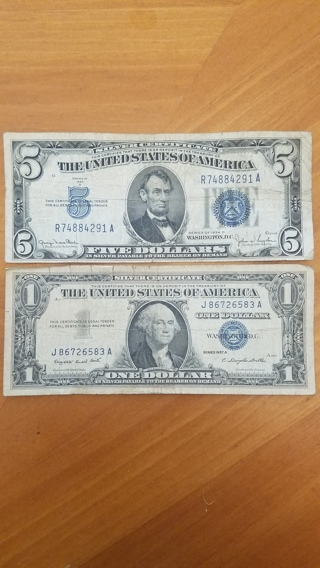 1934D $5 Silver Certificate AND 1957A $1 Silver Certificate - Blue Seal Dollar - Vintage - Antique!
