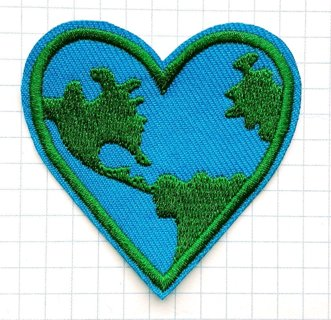 Love Earth , Earth Heart Universe Green Planet Embroidered Cloth Iron On Patches