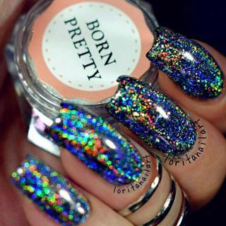 BORN PRETTY Galaxy Holographic Nail Glitter Laser Holo Nail Sequins Paillettes Pigment Powder Nail