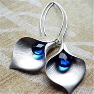 [GIN FOR FREE SHIPPING] 925 Silver Blue Sapphire Ear Stud Hoop Dangle Bridal Earrings