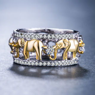 [GIN FOR FREE SHIPPING] Women 925 Silver Elephant Jewelry Round Cut White Sapphire Ring