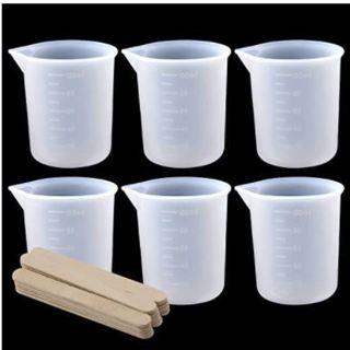 SAVITA 6Pcs 100ml Silicone Measuring Cups for Resin