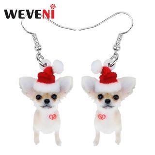 WEVENI Acrylic Christmas Hat Chihuahua Dog Earrings Drop Dangle Sweet Animal Jewelry For Women Girls
