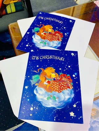 New Vintage Rare American Greetings Collectible Embossed Care Bear Christmas Greeting Cards