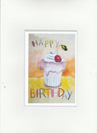 Happy Birthday Card Unused With Envelope Cupcake