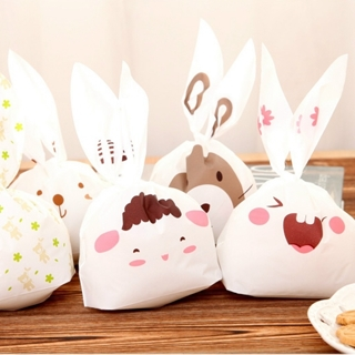 50pcs lot Rabbit Ear Cookie Bag Plastic Packaging Biscuit Candy Gift Bags Cute
