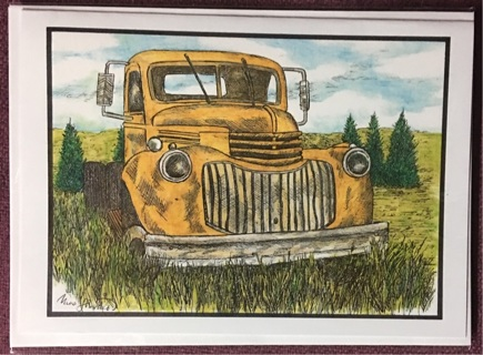 "Old Truck in field / 5 x 7"" art card by artist Nina Struthers - GIN ONLY"