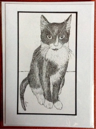 "LITTLE TUXEDO CAT - 5 x 7"" art card by artist Nina Struthers - GIN ONLY"