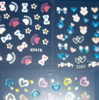 3 NEW nail decal sticker sheets! Sparkly bows, hearts, flowers and shapes. Cute and kawaii!