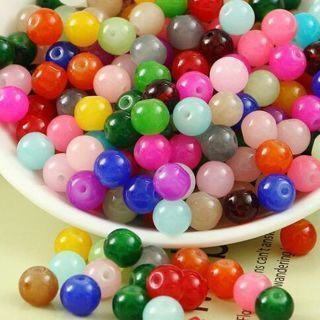 [GIN FOR FREE SHIPPING] 100PCs Glass Jade Jelly Charm Loose Spacer Round Beads