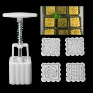 4Pcs Stamp Square Flower Moon Cake Biscuits Cookie Cutter Mould Mold Pastry Tool