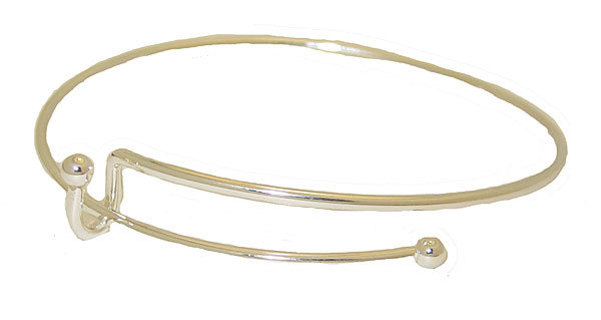 EXPANDABLE WIRE BANGLE BRACELET WHITE GOLD for CHARMS!!!