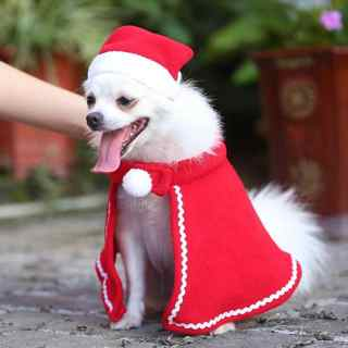 [GIN FOR FREE SHIPPING] Christmas Pet Dog Cat Clothes Costumes Cloak