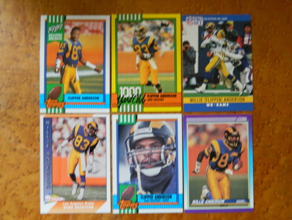 (6) FLIPPER ANDERSON Football Cards 1990-91 Topps ProSet Pacific Score - Los Angeles RAMS