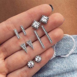 10 Pcs/set Women Bohemian Retro Triangle Round Geometric Crystal Silver Earrings Wedding Shiny