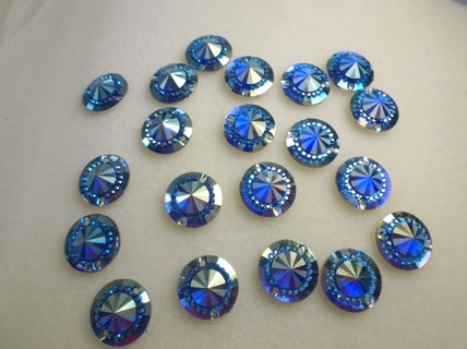 AB Mini Faceted Flatback Resin Round Sew-On Embellishments 14mm Blue **Free Shipping**