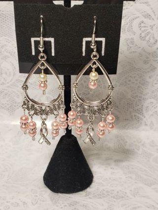 Chandelier Earrings ♡♡ Breast Cancer  ♡♡