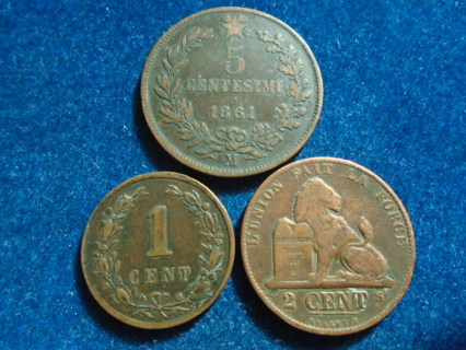 1861 1862 & 1884 OLD WORLD COINS...FULL BOLD DATES!