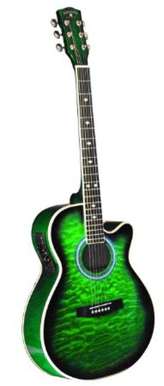 INDIANA Madison MAD-QTGR Acoustic-Electric Guitar - Green Sunburst