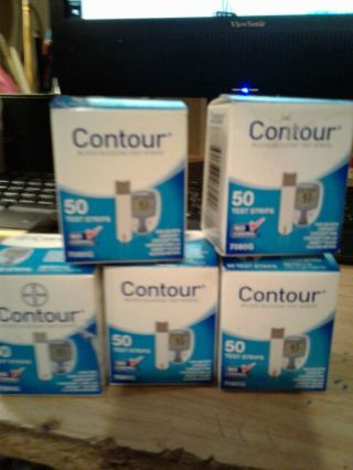 BNIB 5 boxes 50 CONTOUR TESTS STRIPS. BRAND NEW NEVER USED!