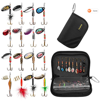 PLUSINNO Fishing Lures for Bass 16pcs Spinner Lures with Portable Carry Bag,