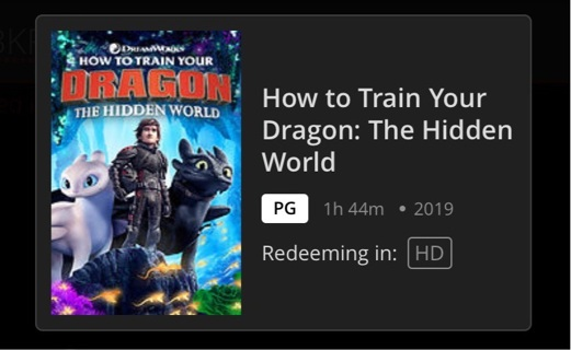 How to train your dragon: The hidden world HD MA