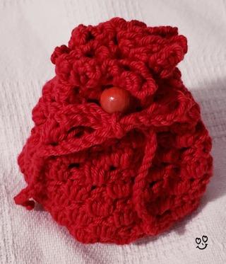 """Crochet Pull String Gift Bag***LQQK*** 5""""Tall 4"""" Diam"""