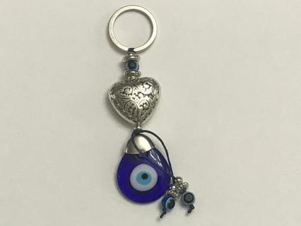 "4"" Glass Evil Eye / Heart Keychain"