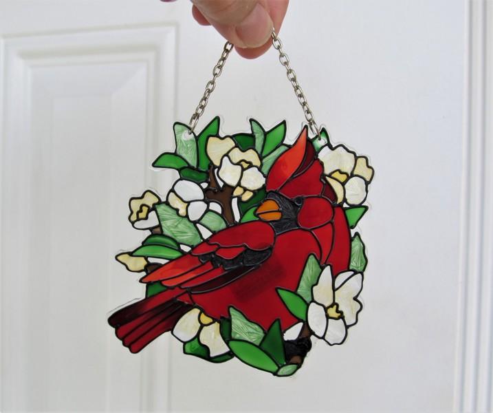 Free New Beautiful Stained Glass Cardinal Sun Catcher