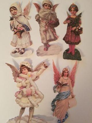 Vintage Christmas Angel Cutouts, 5 pc's, #0919
